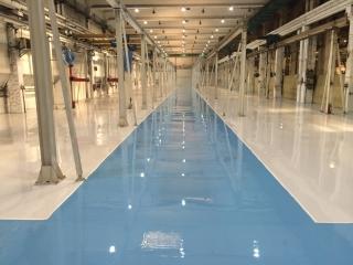JLG Industries - hala montaj utilaje - pardoseala epoxidica